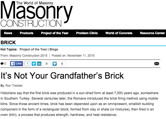 This article about General Shale's new and beautiful brick offerings won Blog Project of the Year in Masonry Construction magazine for 2015!